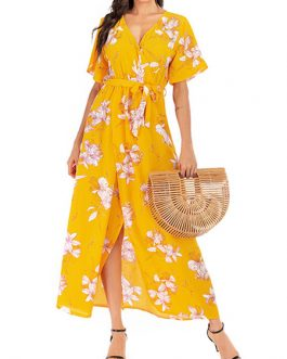 Floral Print Short Sleeves Chiffon Long Maxi Dress