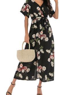 Floral Print Short Sleeves V Neck Chiffon Maxi Dress