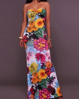 Floral Print Strapless Stretchy Sexy Maxi Dresses
