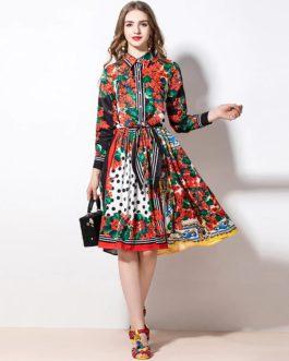 Vintage Flower Floral Print  A-Line Midi Skirt  Set
