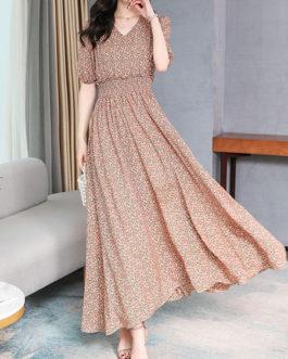 Floral Print V Neck Chiffon Swing Maxi Dresses