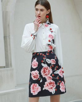 Fashion Designer Floral-Print Shirt+Beaded Elegant Skirt set