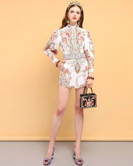 Floral Printed Shirt and Vintage Belted Short Pieces Sets