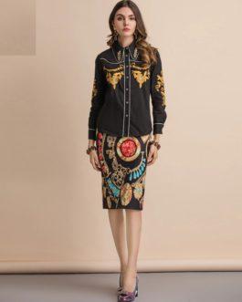Embroidery Shirts+Geometric Print Midi Skirt Suit