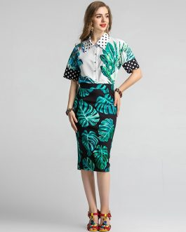 Flower Print Fashion Runway Midi Skirt Suit