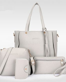 Four Piece Bag Set – Shoulder Bag Messenger Satchel Wristlet Wallet