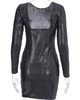 Glitter Bodycon Rhinestones Backless Sexy Long Sleeves Pencil Dress