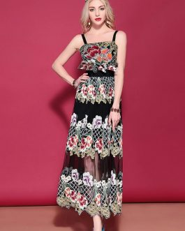 Gorgeous Fashion Mesh Floral Embroidery Runway Dress