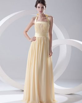 Grace Floor-Length Bridesmaid Dress with Halter Sheath Draped Chiffon