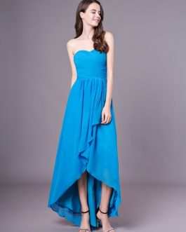 High-Low Strapless Ruched Bridesmaid Dress
