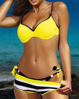 Horizontally-Striped Bottoms Solid Top Bikini