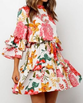 Jewel Neck Floral Print Frill Sundress