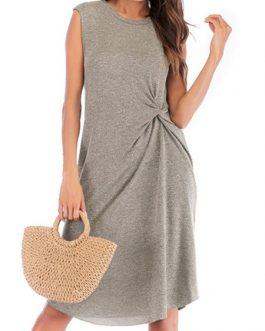 Jewel Neck Knotted Sleeveless Beach Dress