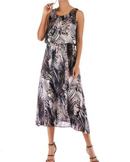 Jewel Neck Sleeveless Printed Beach Dress