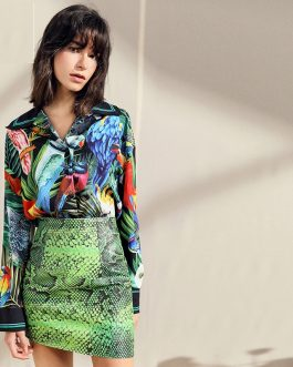 Jungle Little bird Floral Print Shirt and Mini Skirt Two Pieces Set Suit