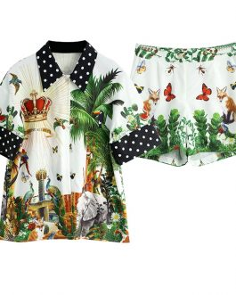 Jungle Animal Floral Print Top and Shorts Two Pieces Set Suit