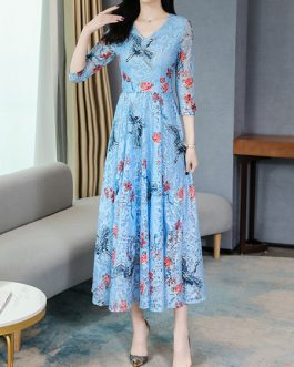 Lace Floral Print Floor Length Maxi Dresses