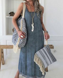 Lace Trim Sleeveless Slip Oversized Maxi Dresses