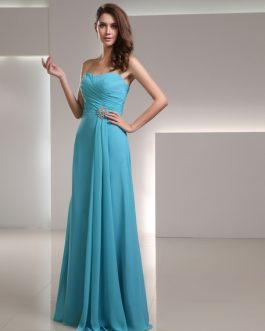 Long Bridesmaid Dress Chiffon Sweetheart Strapless Floor Length Wedding Party Dress