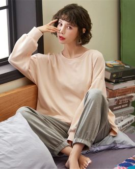 Long Sleeves Long Pants Two Pieces Leisure Cotton Sleepwear