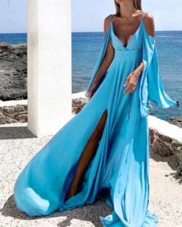 Long Sleeves Split Cold Shoulder Beach Maxi Dress