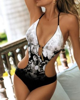 Marble Effect One Piece Swimsuit