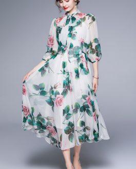 Mesh Fashion Casual Puff Sleeve Long Boho Dress