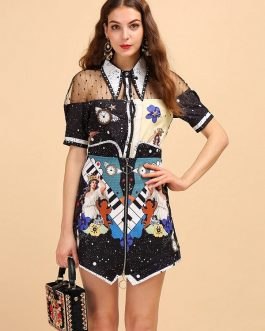 Mesh Splice Shirt And Character Printed Skirt Two Pieces Lady Set