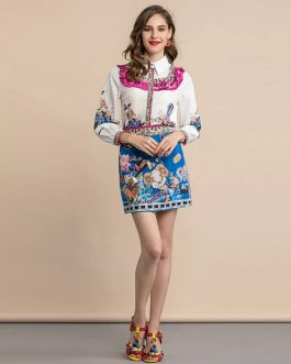 Fashion Runway Mini Skirts Suit