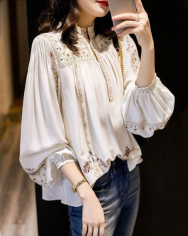 New stand collar bohemian loose office blouses