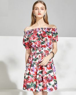 Off The Shoulder Elastic Waist Floral Print Elegant Mini Dress