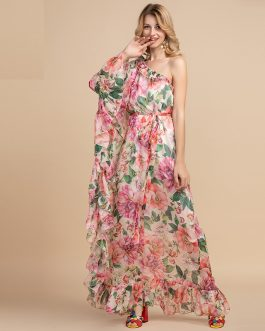 Off shoulder Floral Print Loose Maxi Dress