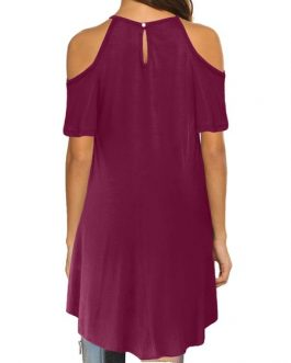 Open Shoulder Short Sleeve T Shirt Dress