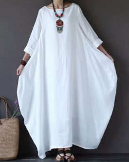 Oversized Long Sleeves Jewel Neck Shift Maxi Dress