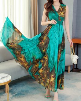 Peacock Print Sleeveless Chiffon Swing Maxi Dress