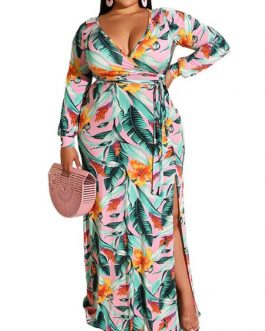 Print V Neck Long Sleeves Floor Length Dress