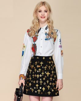 Printed Blouses+Vintage Sequined Beading Mini Short Skirts Suit