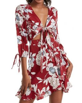 Printed Polyester Lace Up Beach Dress