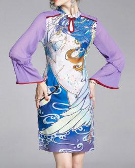 Bodycon Print Long Sleeve Dress