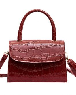 Retro Simple Crocodile Tattoo Shoulder Strap Small Square Bag Handbag