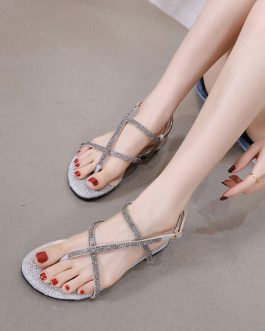 Rhinestones Chic Thong Toe Flat Sandals