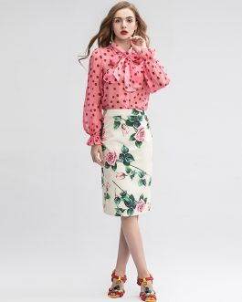 Casual Floral Print Skirts Two Pieces Set Elegant Suits