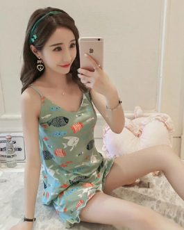 Round Neck Cartoon Print Top And Front Shorts Slings Sleepwear