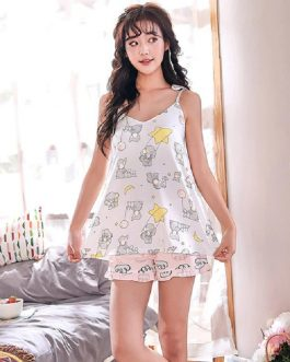 Round Neck Printed Sleeveless Casual Short Slings Sleepwear