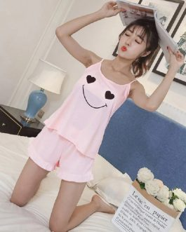 Round Neck Printed Top And Front Shorts Pajama Set