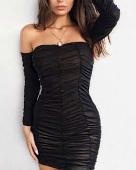 Ruched Bodycon Off The Shoulder Long Sleeve Sexy Sheath Dress