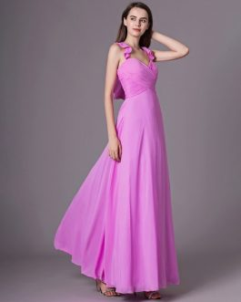 Ruffles A Line Floor Length Halter Bridesmaid Dress