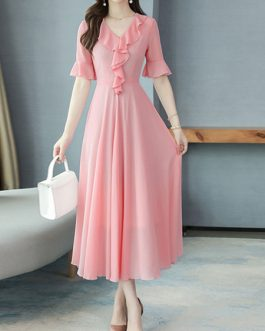 Ruffles Short Sleeves V Neck Chiffon Long Maxi Dress