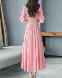 Ruffles Short Sleeves V Neck Chiffon Long Maxi Dress