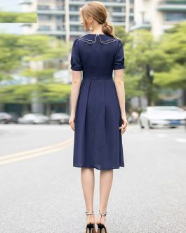 Runway Designer Gold Line Embroidery Short Sleeve Peter Pan Collar Vintage Dress
